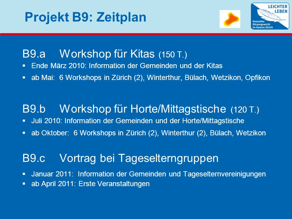 Projekt B9: Zeitplan B9.aWorkshop für Kitas (150 T.) Ende März 2010: Information der Gemeinden und der Kitas ab Mai: 6 Workshops in Zürich (2), Winter