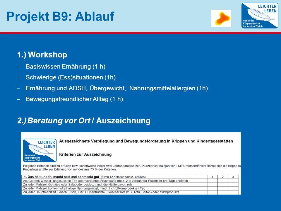 Projekt B9: Ablauf 1.) Workshop – Basiswissen Ernährung (1 h) – Schwierige (Ess)situationen (1h) – Ernährung und ADSH, Übergewicht, Nahrungsmittelalle