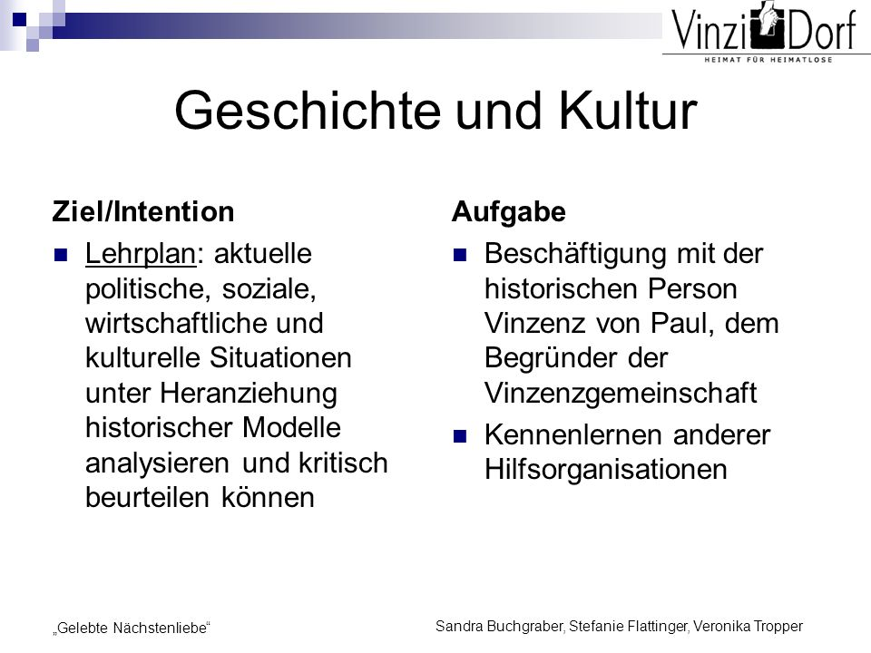 Sandra Buchgraber, Stefanie Flattinger, Veronika Tropper Gelebte Nächstenliebe Geschichte und Kultur Ziel/Intention Lehrplan: aktuelle politische, soz