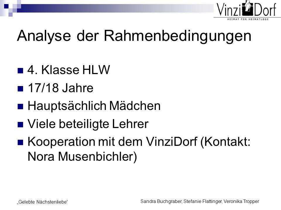 Sandra Buchgraber, Stefanie Flattinger, Veronika Tropper Gelebte Nächstenliebe Analyse der Rahmenbedingungen 4. Klasse HLW 17/18 Jahre Hauptsächlich M