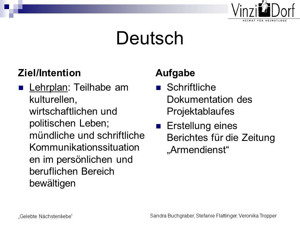 Sandra Buchgraber, Stefanie Flattinger, Veronika Tropper Gelebte Nächstenliebe Deutsch Ziel/Intention Lehrplan: Teilhabe am kulturellen, wirtschaftlic