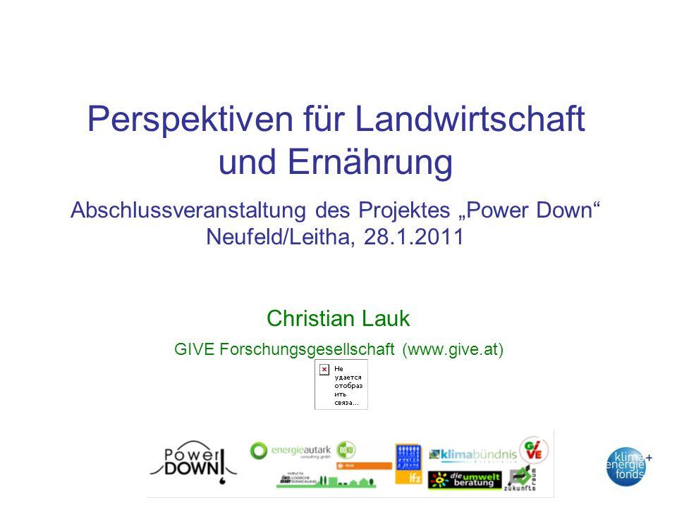 Perspektiven für Landwirtschaft und Ernährung Abschlussveranstaltung des Projektes Power Down Neufeld/Leitha, 28.1.2011 Christian Lauk GIVE Forschungsgesellschaft (www.give.at)