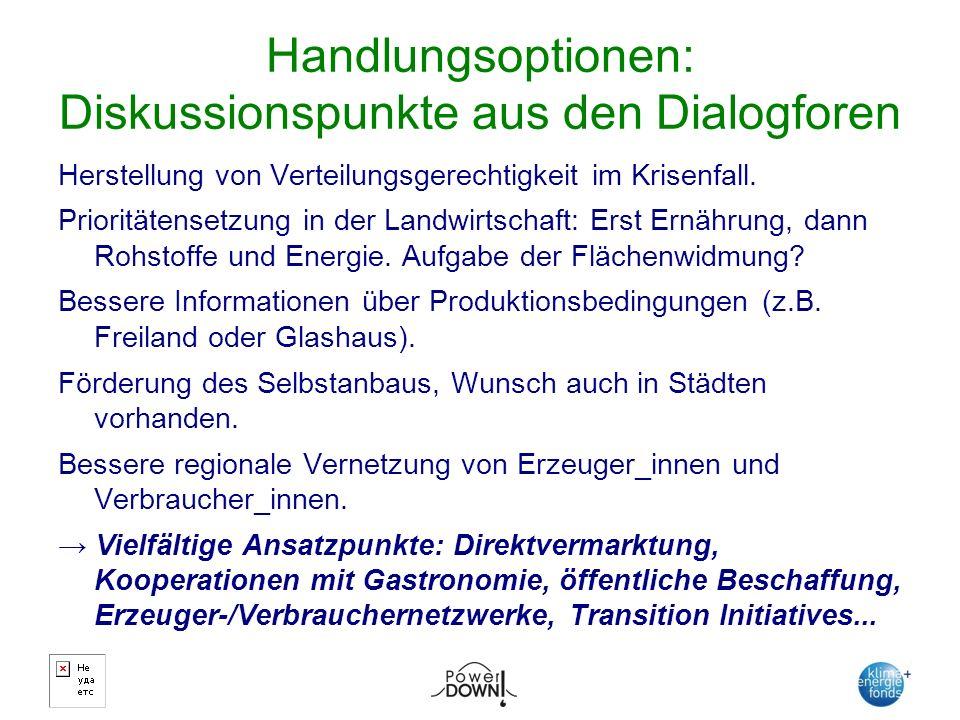 Handlungsoptionen: Diskussionspunkte aus den Dialogforen Herstellung von Verteilungsgerechtigkeit im Krisenfall.