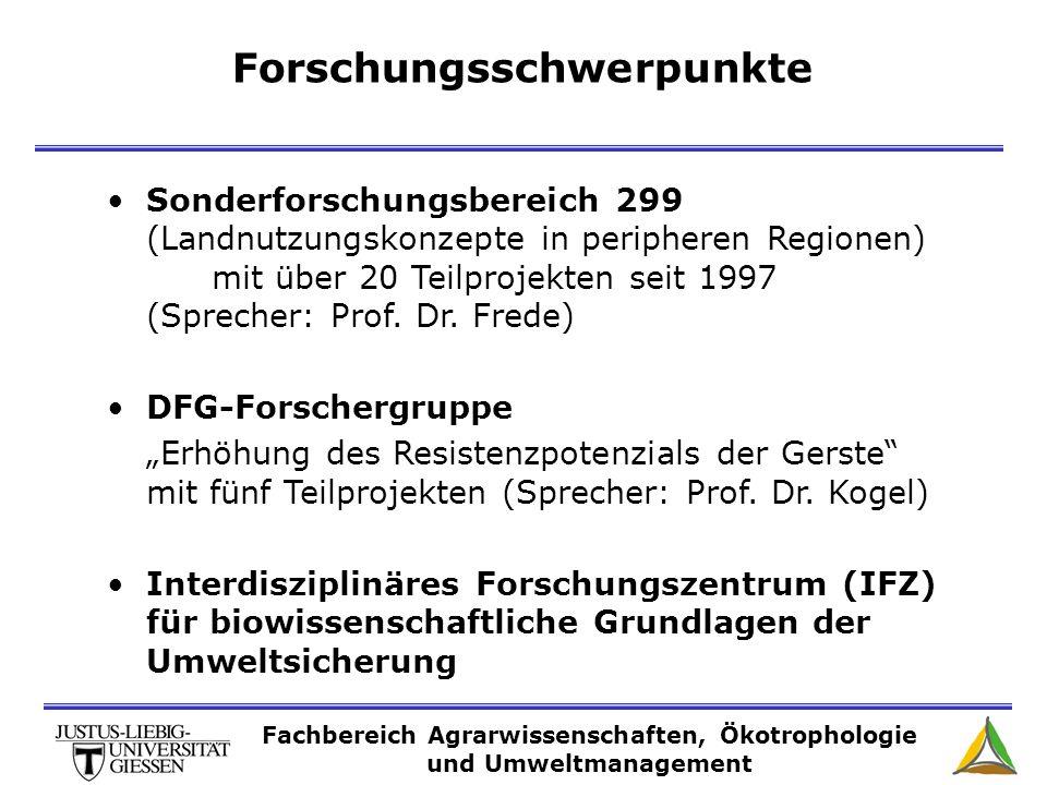 Forschungsschwerpunkte Sonderforschungsbereich 299 (Landnutzungskonzepte in peripheren Regionen) mit über 20 Teilprojekten seit 1997 (Sprecher: Prof.