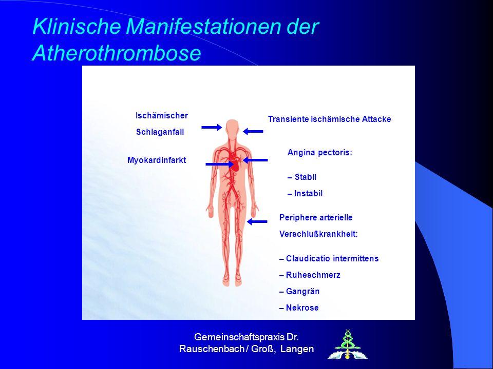 Gemeinschaftspraxis Dr. Rauschenbach / Groß, Langen Transiente ischämische Attacke Angina pectoris: – Stabil – Instabil Ischämischer Schlaganfall Myok