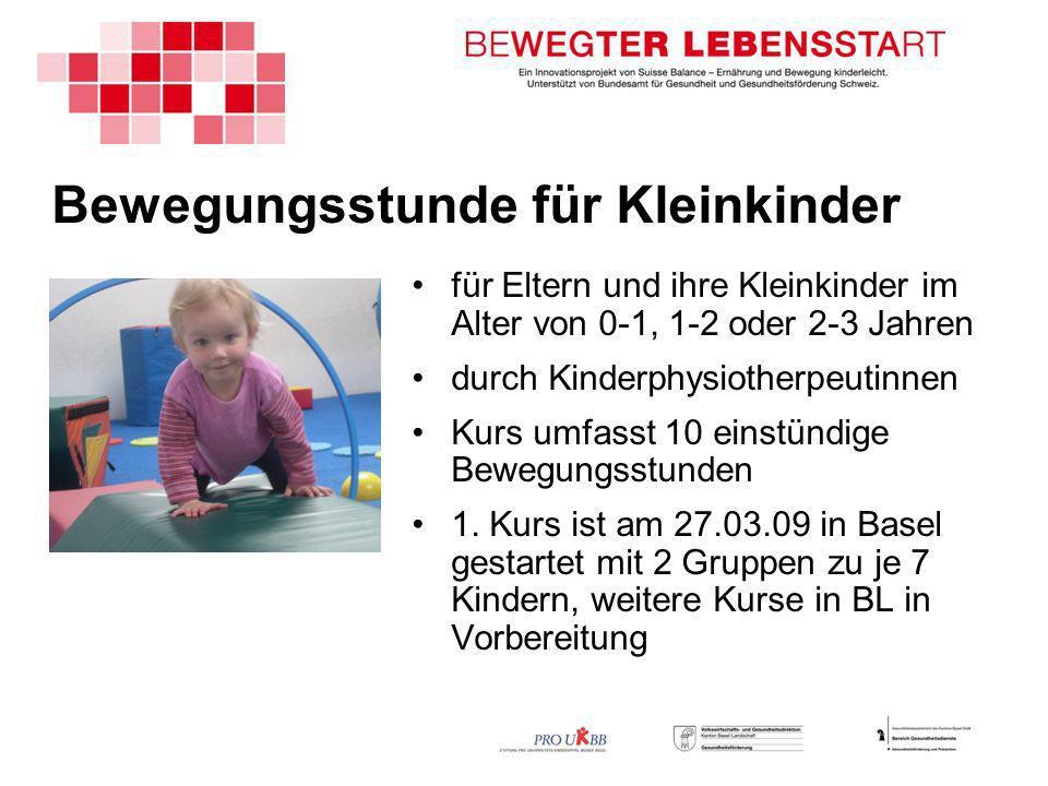 Bewegungsstunde für Kleinkinder für Eltern und ihre Kleinkinder im Alter von 0-1, 1-2 oder 2-3 Jahren durch Kinderphysiotherpeutinnen Kurs umfasst 10 einstündige Bewegungsstunden 1.