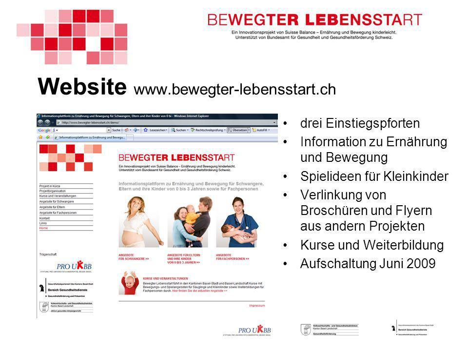 Website www.bewegter-lebensstart.ch drei Einstiegspforten Information zu Ernährung und Bewegung Spielideen für Kleinkinder Verlinkung von Broschüren und Flyern aus andern Projekten Kurse und Weiterbildung Aufschaltung Juni 2009
