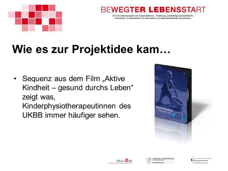 Wie es zur Projektidee kam… Sequenz aus dem Film Aktive Kindheit – gesund durchs Leben zeigt was, Kinderphysiotherapeutinnen des UKBB immer häufiger sehen.