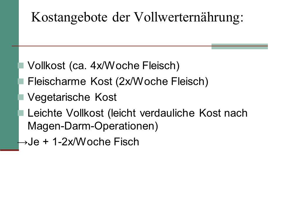 Kostangebote der Vollwerternährung: Vollkost (ca.