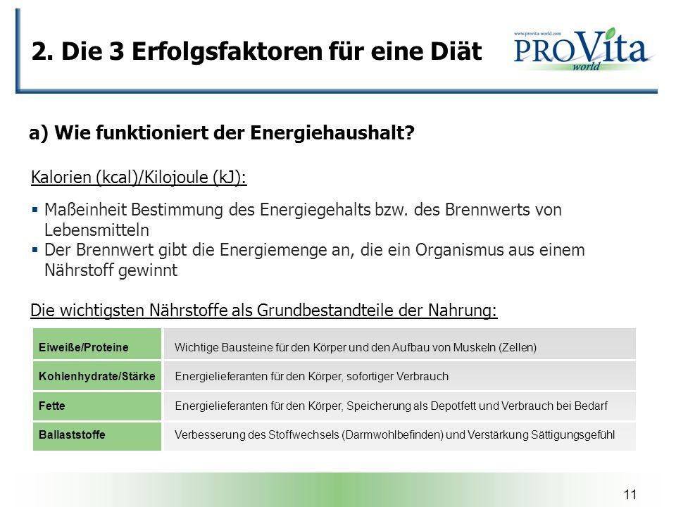 11 2. Die 3 Erfolgsfaktoren für eine Diät a) Wie funktioniert der Energiehaushalt? Maßeinheit Bestimmung des Energiegehalts bzw. des Brennwerts von Le