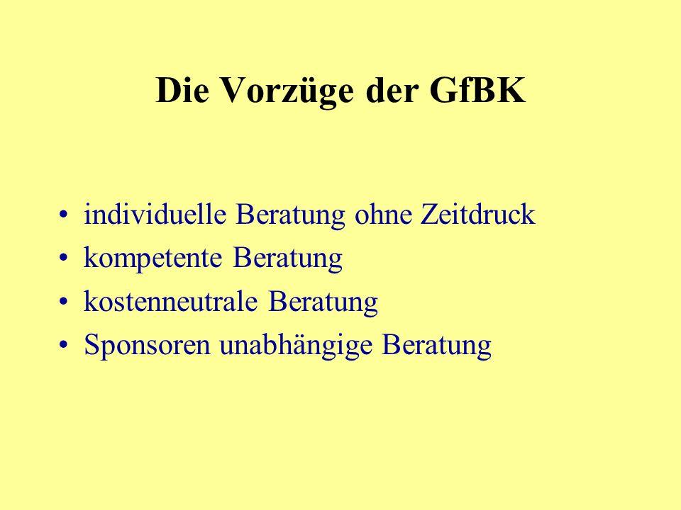 Die Vorzüge der GfBK individuelle Beratung ohne Zeitdruck kompetente Beratung kostenneutrale Beratung Sponsoren unabhängige Beratung