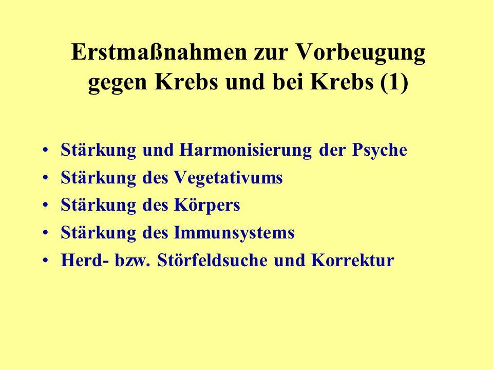 Stärkung und Harmonisierung der Psyche Stärkung des Vegetativums Stärkung des Körpers Stärkung des Immunsystems Herd- bzw.