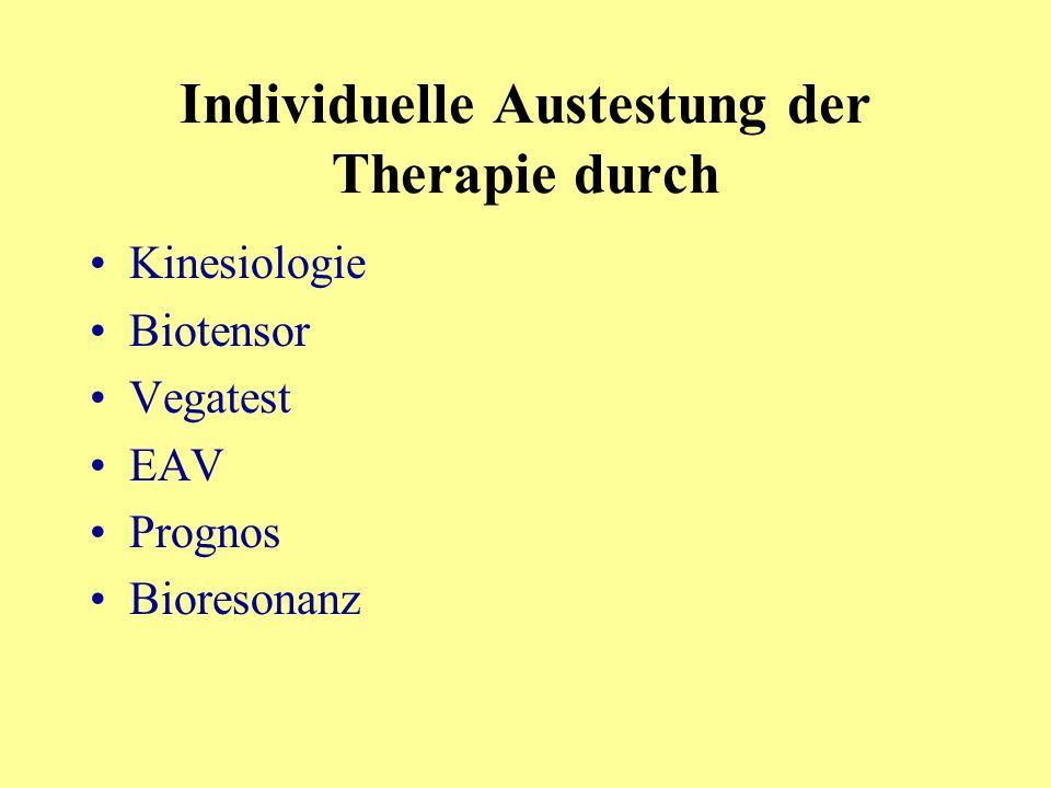 Individuelle Austestung der Therapie durch Kinesiologie Biotensor Vegatest EAV Prognos Bioresonanz