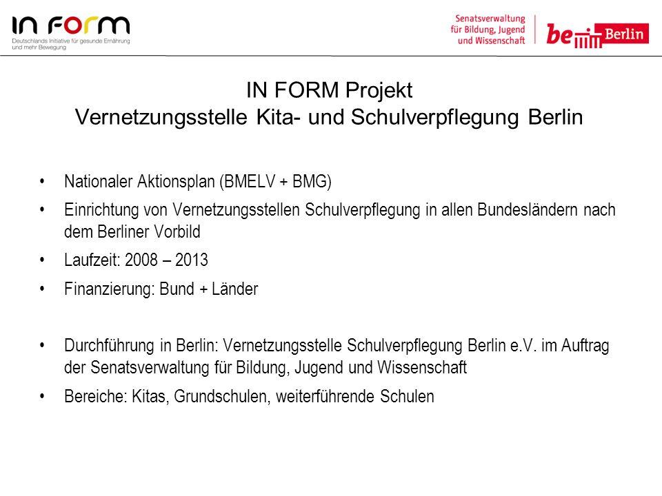 IN FORM Projekt Vernetzungsstelle Kita- und Schulverpflegung Berlin Nationaler Aktionsplan (BMELV + BMG) Einrichtung von Vernetzungsstellen Schulverpf