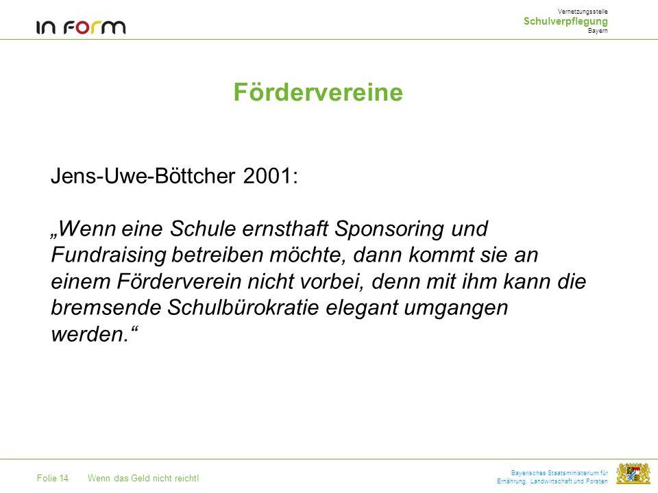 Folie 14Wenn das Geld nicht reicht! Bayerisches Staatsministerium für Ernährung, Landwirtschaft und Forsten Fördervereine Vernetzungsstelle Schulverpf