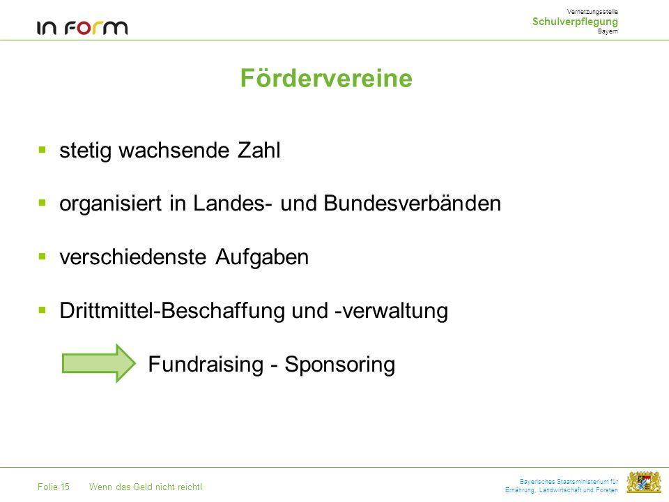 Folie 15Wenn das Geld nicht reicht! Bayerisches Staatsministerium für Ernährung, Landwirtschaft und Forsten Fördervereine stetig wachsende Zahl organi