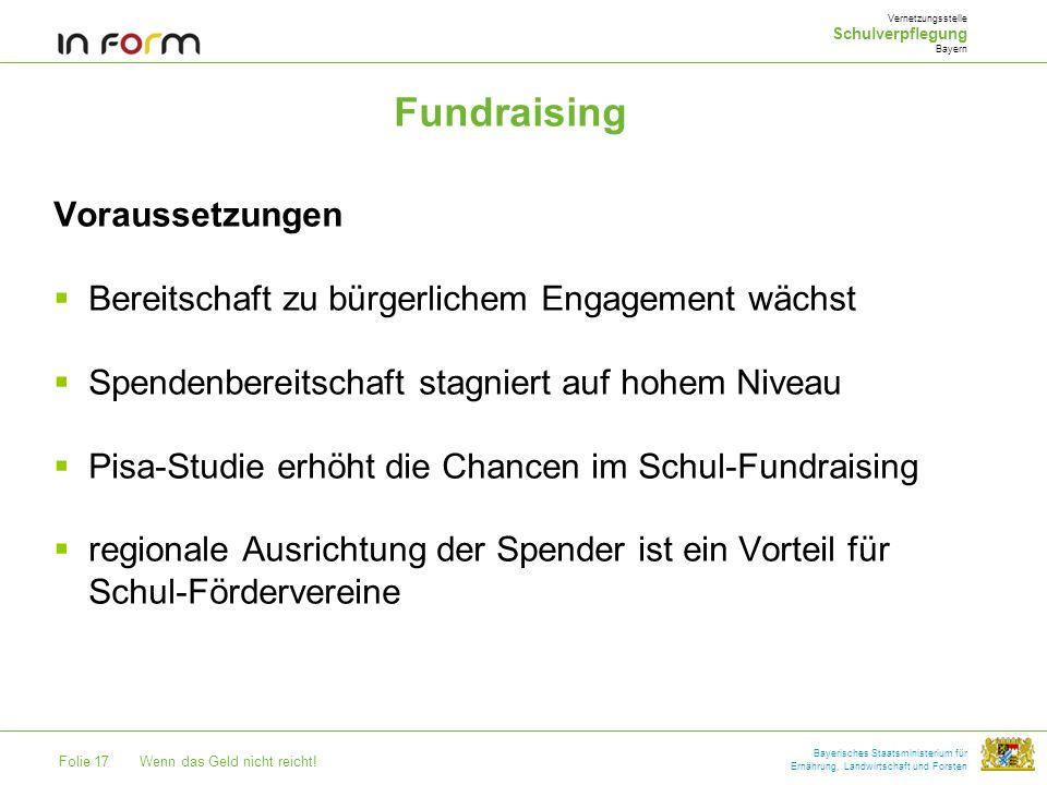 Folie 17Wenn das Geld nicht reicht! Bayerisches Staatsministerium für Ernährung, Landwirtschaft und Forsten Fundraising Voraussetzungen Bereitschaft z