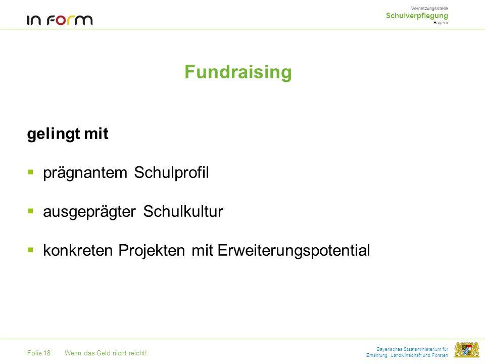 Folie 18Wenn das Geld nicht reicht! Bayerisches Staatsministerium für Ernährung, Landwirtschaft und Forsten Fundraising gelingt mit prägnantem Schulpr