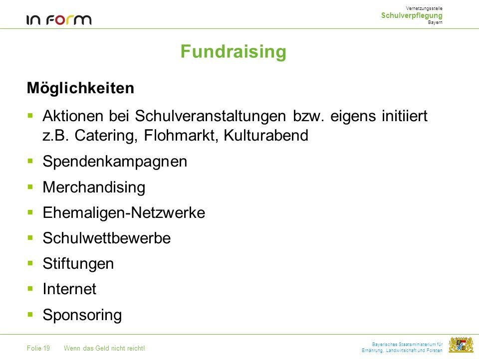 Folie 19Wenn das Geld nicht reicht! Bayerisches Staatsministerium für Ernährung, Landwirtschaft und Forsten Fundraising Vernetzungsstelle Schulverpfle