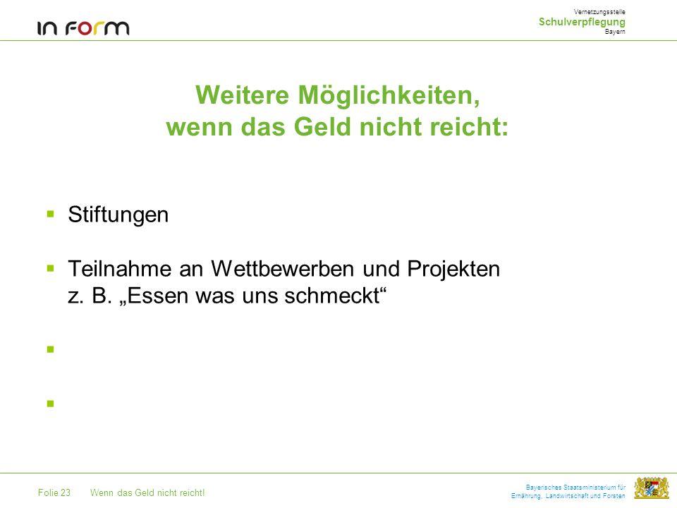 Folie 23Wenn das Geld nicht reicht! Bayerisches Staatsministerium für Ernährung, Landwirtschaft und Forsten Weitere Möglichkeiten, wenn das Geld nicht