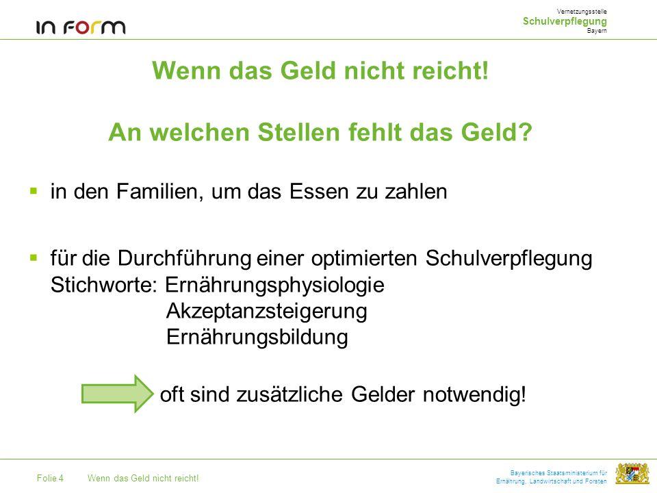 Folie 4Wenn das Geld nicht reicht! Bayerisches Staatsministerium für Ernährung, Landwirtschaft und Forsten Wenn das Geld nicht reicht! An welchen Stel