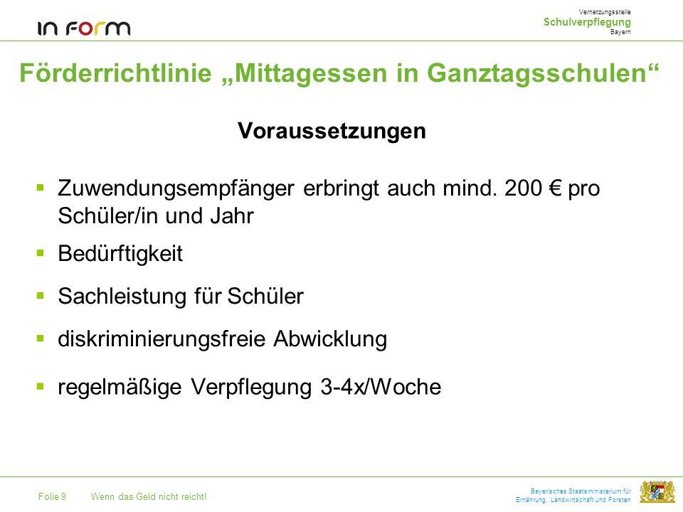Folie 9Wenn das Geld nicht reicht! Bayerisches Staatsministerium für Ernährung, Landwirtschaft und Forsten Förderrichtlinie Mittagessen in Ganztagssch