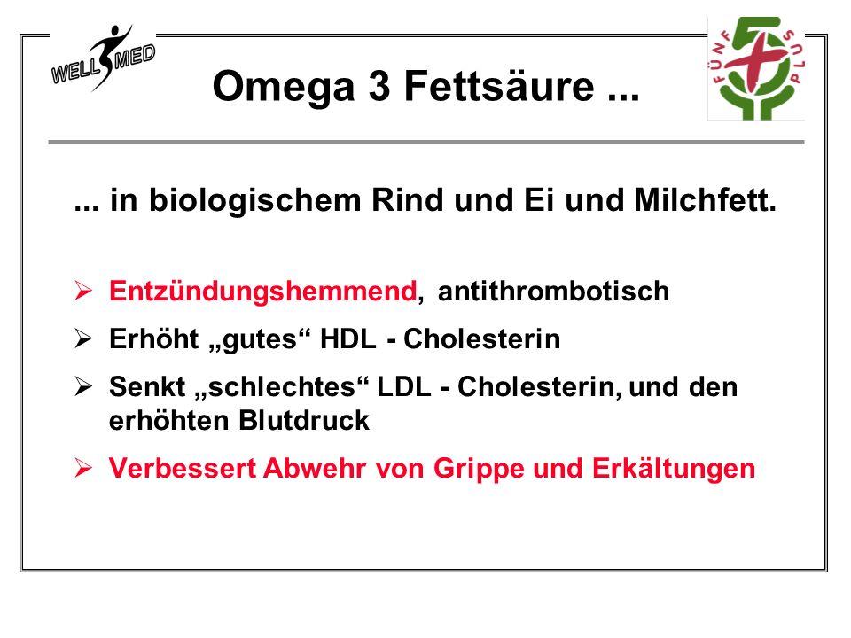 ... in biologischem Rind und Ei und Milchfett. Entzündungshemmend, antithrombotisch Erhöht gutes HDL - Cholesterin Senkt schlechtes LDL - Cholesterin,
