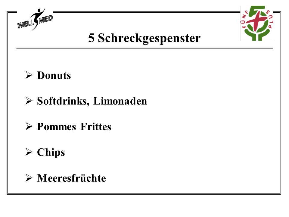 5 Schreckgespenster Donuts Softdrinks, Limonaden Pommes Frittes Chips Meeresfrüchte
