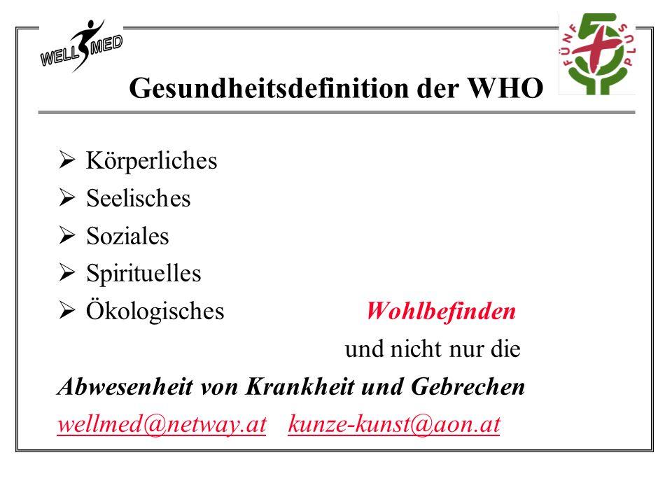 Gesundheitsdefinition der WHO Körperliches Seelisches Soziales Spirituelles Ökologisches Wohlbefinden und nicht nur die Abwesenheit von Krankheit und