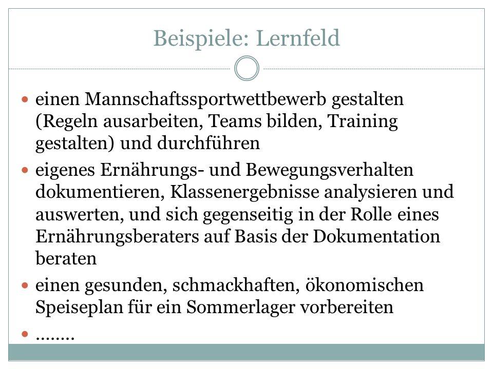 Beispiele: Lernfeld einen Mannschaftssportwettbewerb gestalten (Regeln ausarbeiten, Teams bilden, Training gestalten) und durchführen eigenes Ernährun