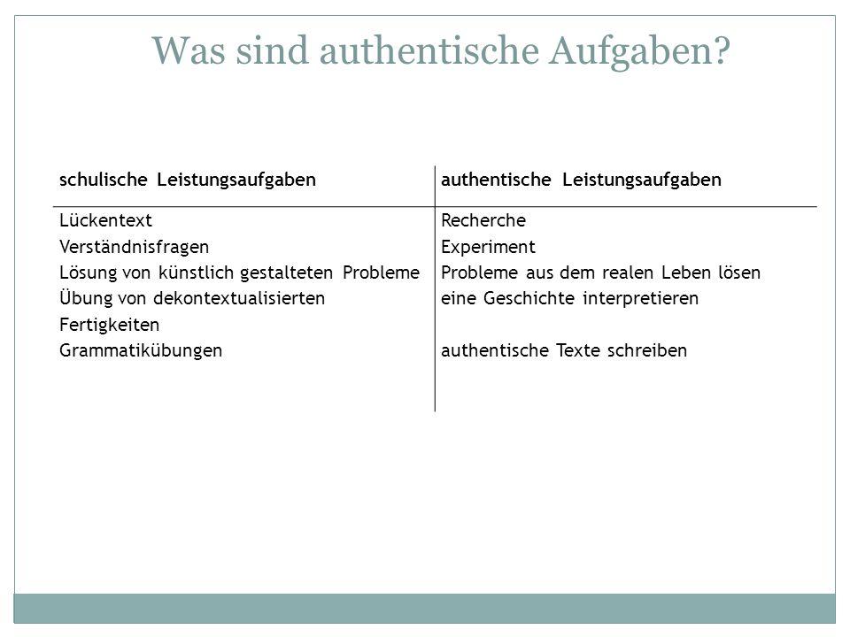 Was sind authentische Aufgaben? schulische Leistungsaufgabenauthentische Leistungsaufgaben Lückentext Verständnisfragen Lösung von künstlich gestaltet