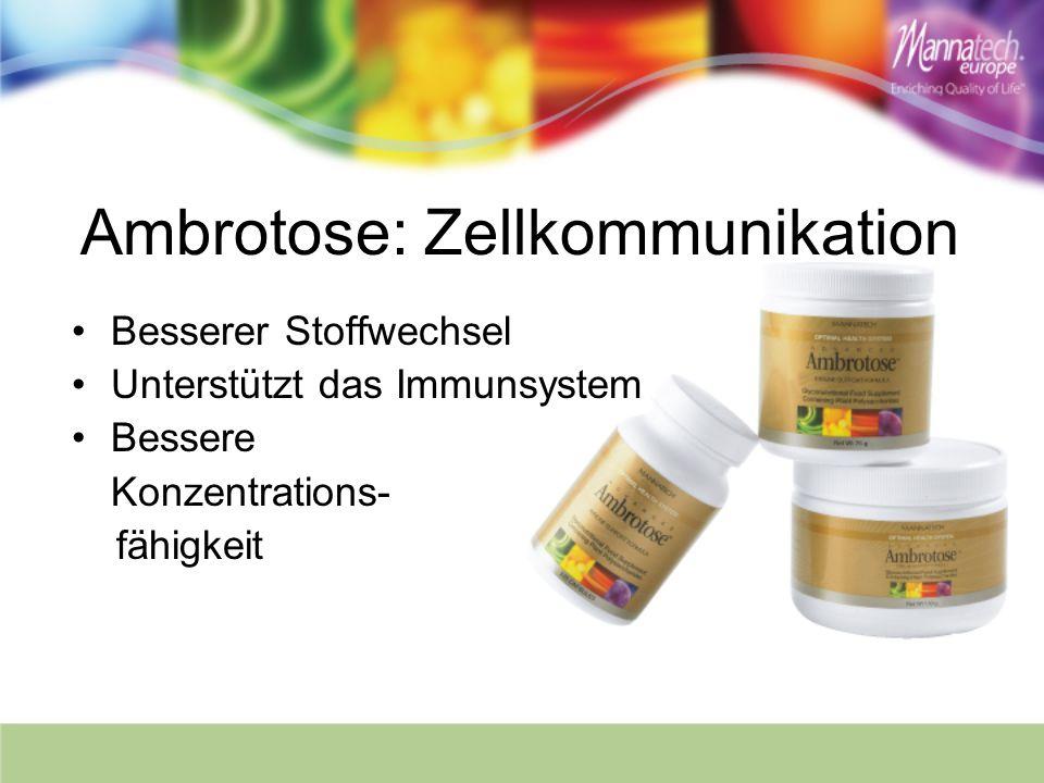 Ambrotose: Zellkommunikation Besserer Stoffwechsel Unterstützt das Immunsystem Bessere Konzentrations- fähigkeit