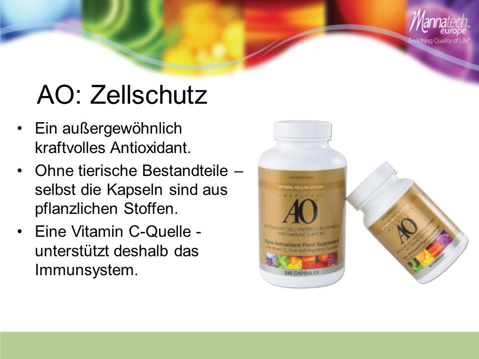 AO: Zellschutz Ein außergewöhnlich kraftvolles Antioxidant. Ohne tierische Bestandteile – selbst die Kapseln sind aus pflanzlichen Stoffen. Eine Vitam