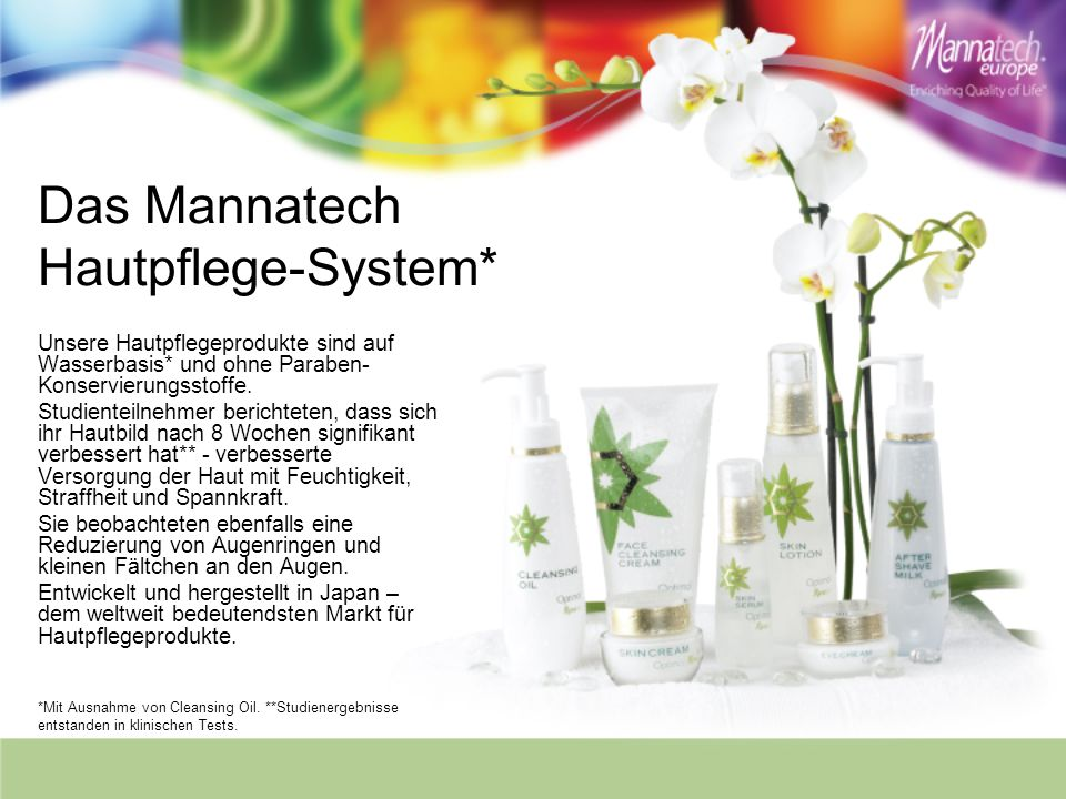 Das Mannatech Hautpflege-System* Unsere Hautpflegeprodukte sind auf Wasserbasis* und ohne Paraben- Konservierungsstoffe. Studienteilnehmer berichteten
