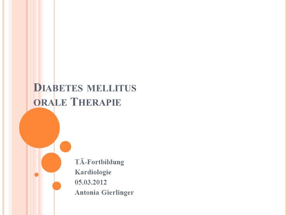 THERAPIE 1.Diabetes Schulung 2. Ernährung, Bewegung GEWICHTSREDUKTION 3.