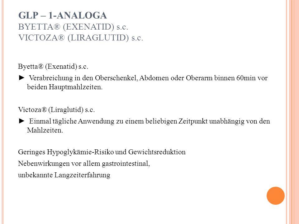 GLITAZONE HbA1C-SENKUNG UM 1,0-1,5% ACTOS® (PIOGLITAZON) * Wirkung: - erhöhen die Insulinsensitivität in Leber, Skelettmuskel u.