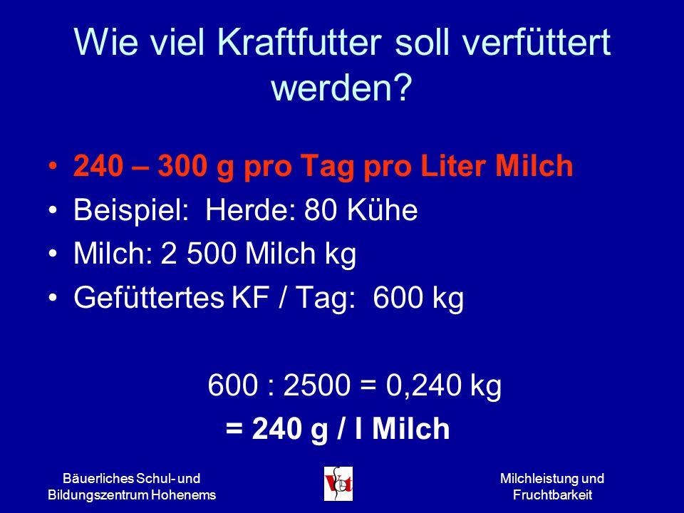 Bäuerliches Schul- und Bildungszentrum Hohenems Milchleistung und Fruchtbarkeit Wie viel Kraftfutter soll verfüttert werden? 240 – 300 g pro Tag pro L