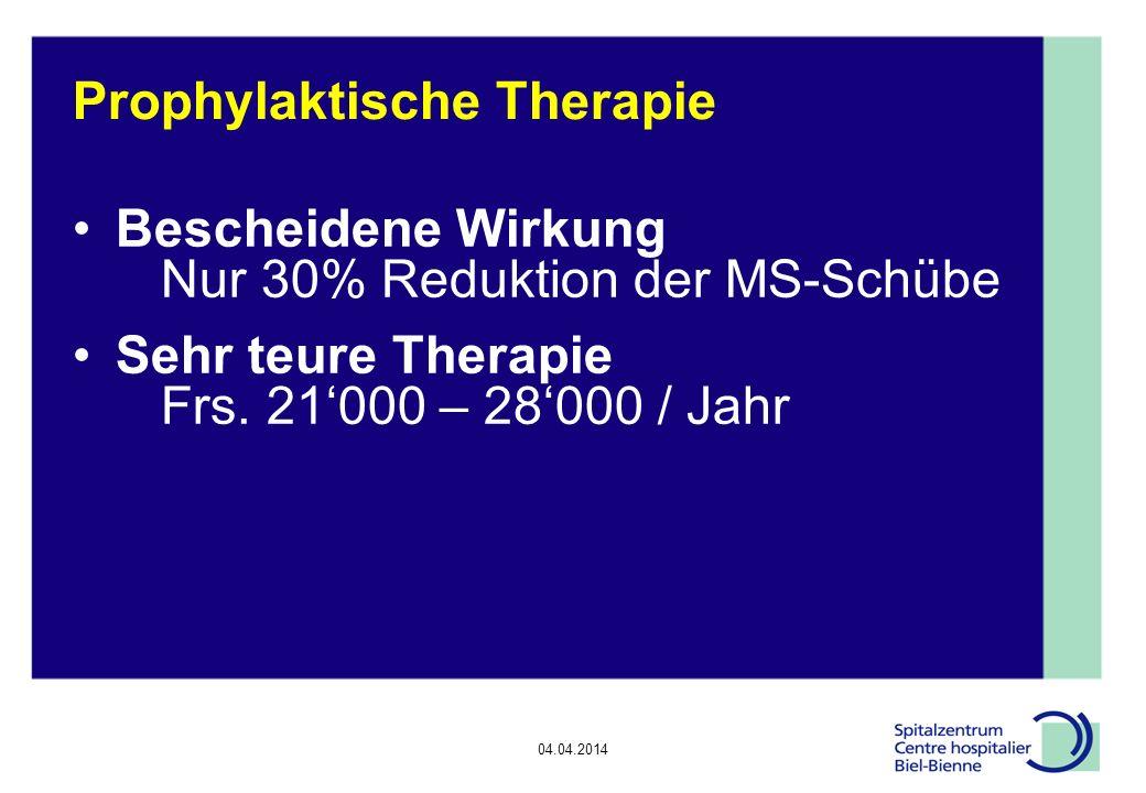 04.04.2014 Epilepsie, Diskussionsrunde Prophylaktische Therapie Bescheidene Wirkung Nur 30% Reduktion der MS-Schübe Sehr teure Therapie Frs.