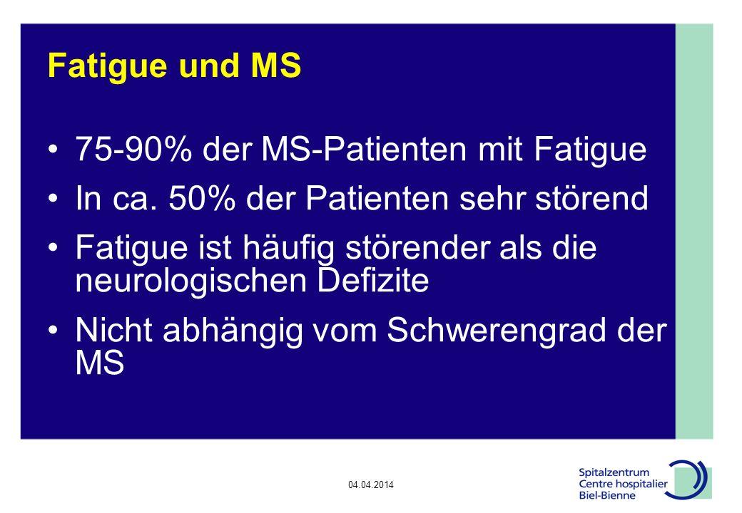 04.04.2014 Epilepsie, Diskussionsrunde Fatigue und MS 75-90% der MS-Patienten mit Fatigue In ca.