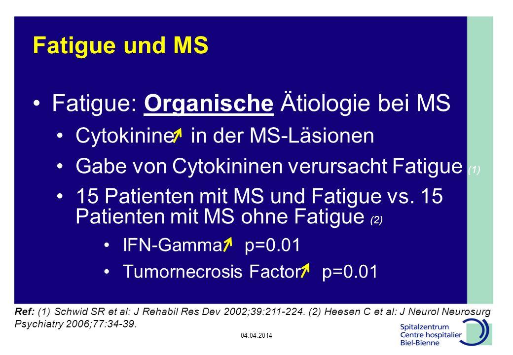 04.04.2014 Epilepsie, Diskussionsrunde Fatigue und MS Fatigue: Organische Ätiologie bei MS Cytokinine in der MS-Läsionen Gabe von Cytokininen verursacht Fatigue (1) 15 Patienten mit MS und Fatigue vs.