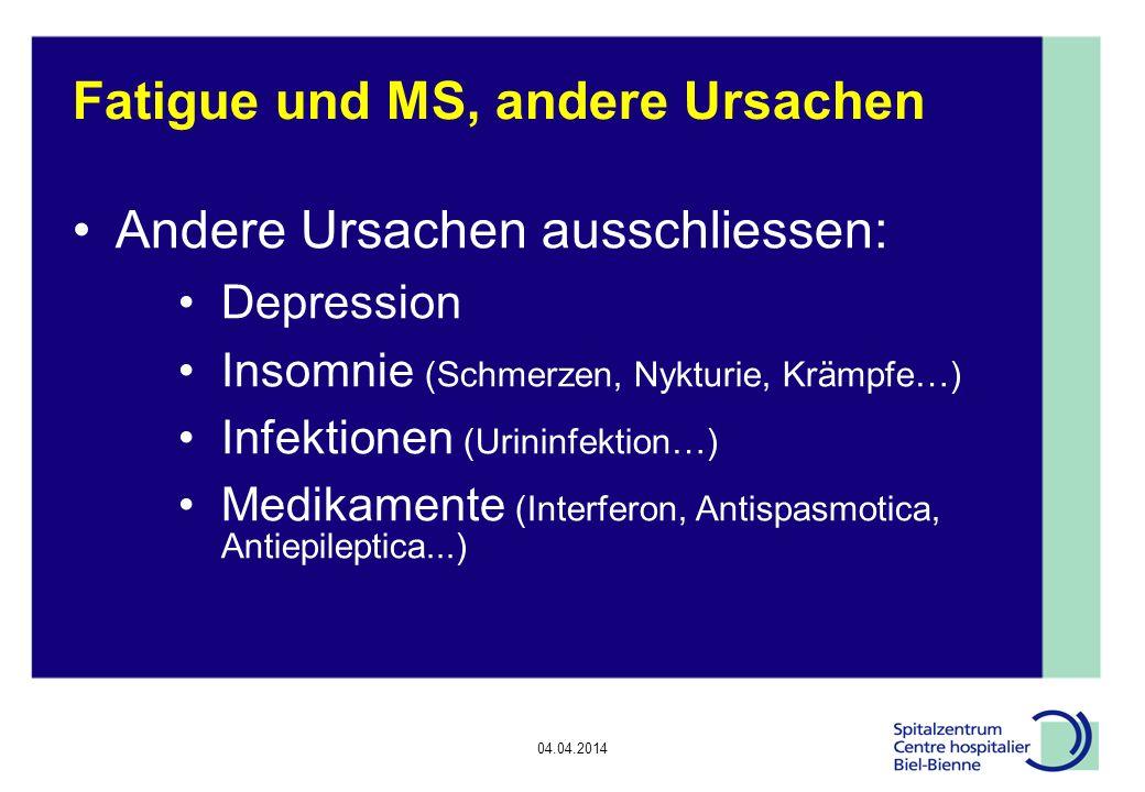04.04.2014 Epilepsie, Diskussionsrunde Fatigue und MS, andere Ursachen Andere Ursachen ausschliessen: Depression Insomnie (Schmerzen, Nykturie, Krämpfe…) Infektionen (Urininfektion…) Medikamente (Interferon, Antispasmotica, Antiepileptica...)