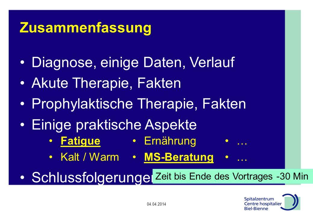 04.04.2014 Epilepsie, Diskussionsrunde Einige praktische Aspekte bei MS Fatigue Kalt und Warm Ernährung Pflegefachfrau MS-Gesellschaft