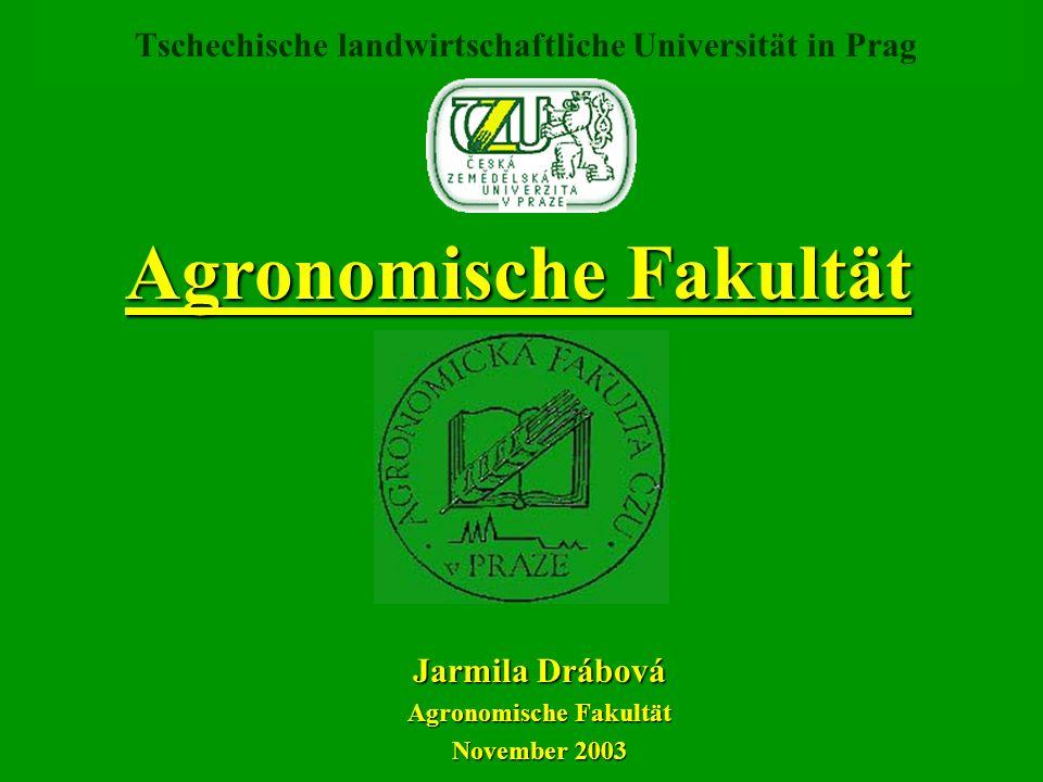 Jarmila Drábová Agronomische Fakultät November 2003 Tschechische landwirtschaftliche Universität in Prag Agronomische Fakultät