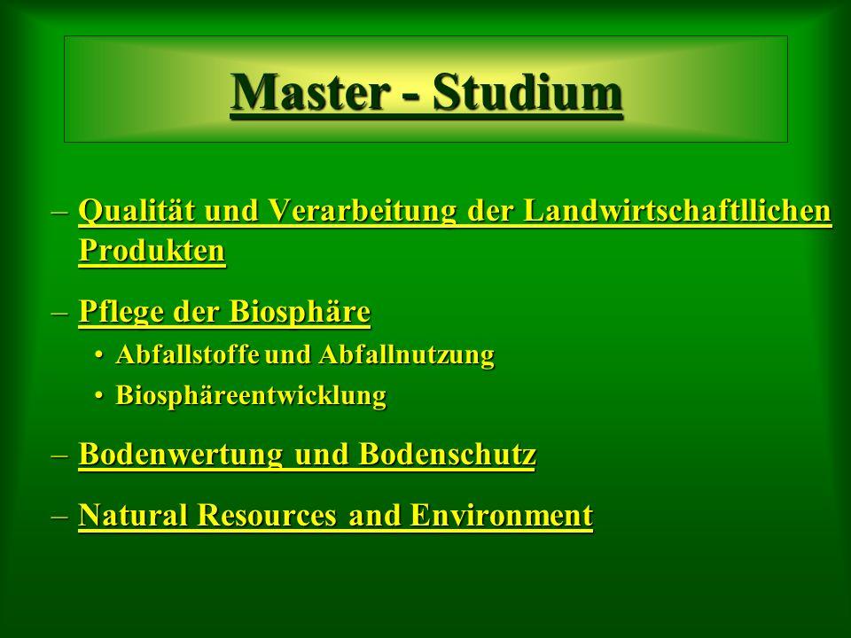 –Qualität und Verarbeitung der Landwirtschaftllichen Produkten –Pflege der Biosphäre Abfallstoffe und AbfallnutzungAbfallstoffe und Abfallnutzung BiosphäreentwicklungBiosphäreentwicklung –Bodenwertung und Bodenschutz –Natural Resources and Environment Master - Studium