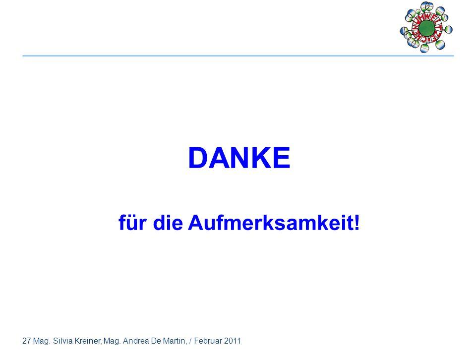 27 Mag. Silvia Kreiner, Mag. Andrea De Martin, / Februar 2011 DANKE für die Aufmerksamkeit!