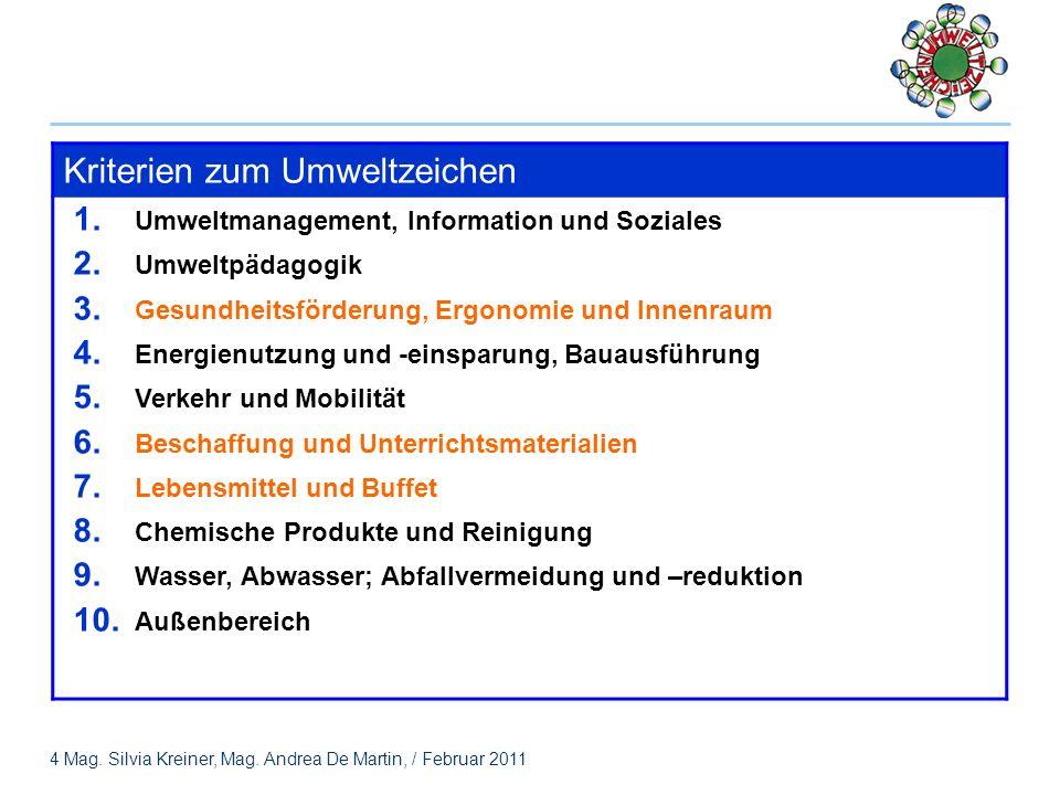 4 Mag.Silvia Kreiner, Mag. Andrea De Martin, / Februar 2011 Kriterien zum Umweltzeichen 1.