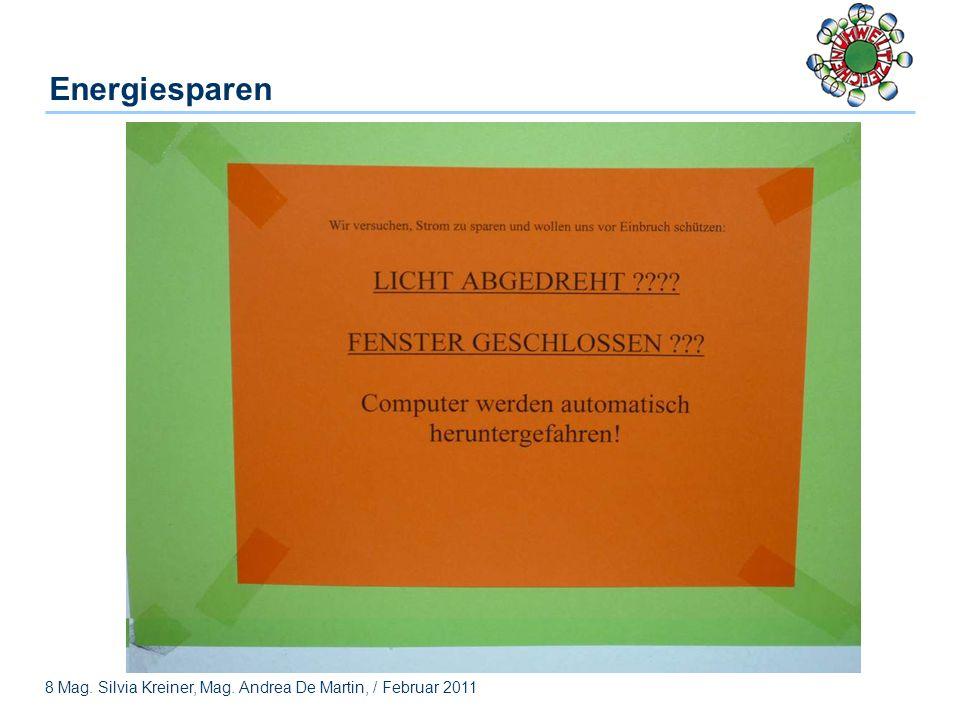 8 Mag. Silvia Kreiner, Mag. Andrea De Martin, / Februar 2011 Energiesparen