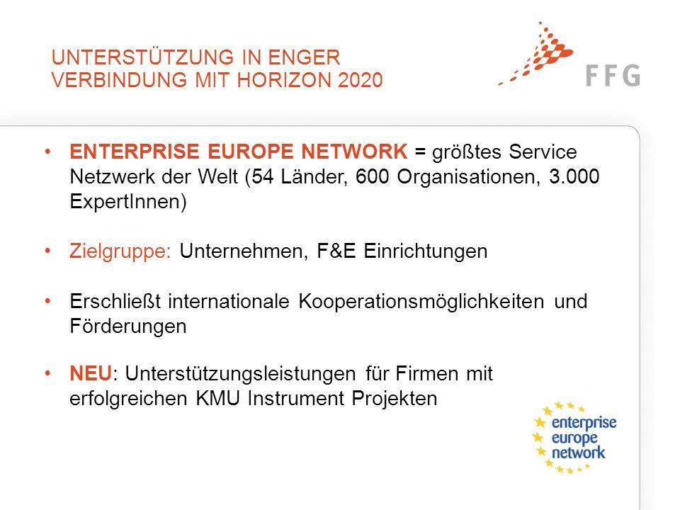 UNTERSTÜTZUNG IN ENGER VERBINDUNG MIT HORIZON 2020 ENTERPRISE EUROPE NETWORK = größtes Service Netzwerk der Welt (54 Länder, 600 Organisationen, 3.000 ExpertInnen) Zielgruppe: Unternehmen, F&E Einrichtungen Erschließt internationale Kooperationsmöglichkeiten und Förderungen NEU: Unterstützungsleistungen für Firmen mit erfolgreichen KMU Instrument Projekten