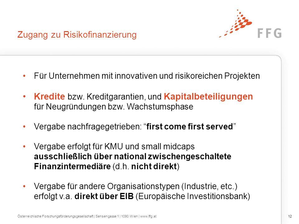 Zugang zu Risikofinanzierung Für Unternehmen mit innovativen und risikoreichen Projekten Kredite bzw.