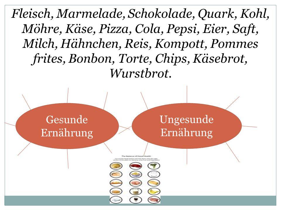 Gesunde Ernährung: Fleisch, Quark, Kohl; Möhre, Käse, Eier, Saft, Milch, Hähnchen, Reis, Kompott.